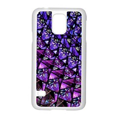 Blue purple Glass Samsung Galaxy S5 Case (White)