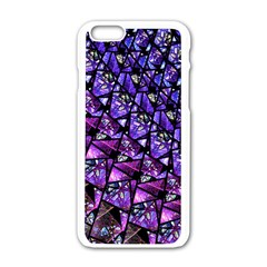 Blue purple Glass Apple iPhone 6 White Enamel Case