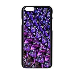 Blue purple Glass Apple iPhone 6 Black Enamel Case