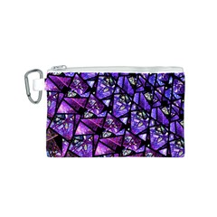 Blue purple Glass Canvas Cosmetic Bag (Small)