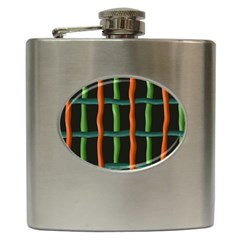Orange Green Wires Hip Flask (6 Oz)