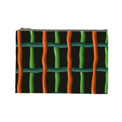 Orange Green Wires Cosmetic Bag (large)