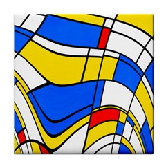 Colorful Distorted Shapes Tile Coaster