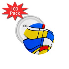 Colorful Distorted Shapes 1 75  Button (100 Pack)