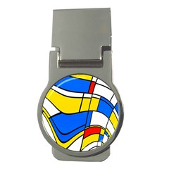 Colorful Distorted Shapes Money Clip (round)