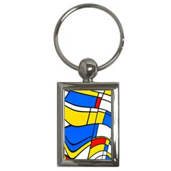 Colorful Distorted Shapes Key Chain (rectangle)