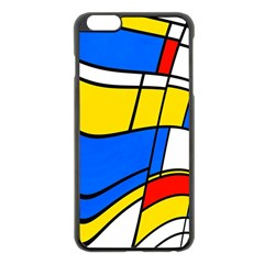 Colorful Distorted Shapes Apple Iphone 6 Plus Black Enamel Case