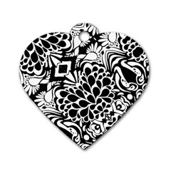 70 s Wallpaper Dog Tag Heart (one Sided)