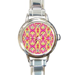 Pink and Yellow Rave Pattern Round Italian Charm Watch