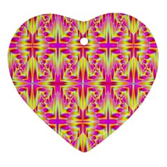 Pink and Yellow Rave Pattern Heart Ornament