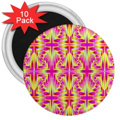Pink And Yellow Rave Pattern 3  Button Magnet (10 Pack)
