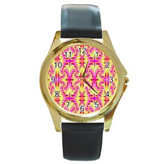 Pink and Yellow Rave Pattern Round Leather Watch (Gold Rim)
