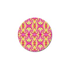 Pink And Yellow Rave Pattern Golf Ball Marker