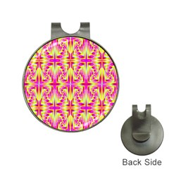 Pink And Yellow Rave Pattern Hat Clip With Golf Ball Marker