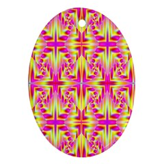Pink And Yellow Rave Pattern Oval Ornament (two Sides)