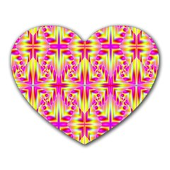 Pink And Yellow Rave Pattern Mouse Pad (heart)