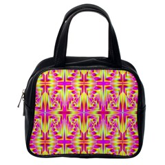 Pink And Yellow Rave Pattern Classic Handbag (one Side)