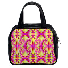 Pink And Yellow Rave Pattern Classic Handbag (two Sides)