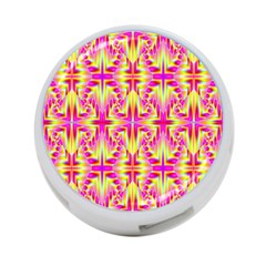 Pink And Yellow Rave Pattern 4 Port Usb Hub (one Side)