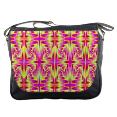Pink And Yellow Rave Pattern Messenger Bag