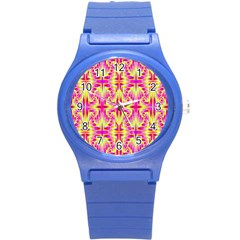 Pink And Yellow Rave Pattern Plastic Sport Watch (small)