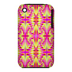 Pink And Yellow Rave Pattern Apple Iphone 3g/3gs Hardshell Case (pc+silicone)