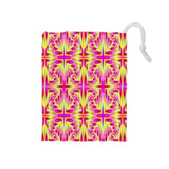 Pink And Yellow Rave Pattern Drawstring Pouch (medium)