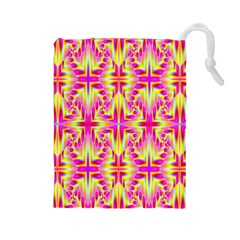 Pink and Yellow Rave Pattern Drawstring Pouch (Large)