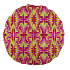 Pink and Yellow Rave Pattern Large 18  Premium Flano Round Cushion