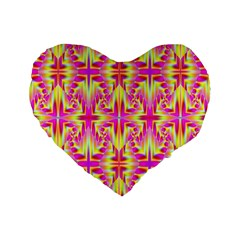 Pink and Yellow Rave Pattern Standard 16  Premium Flano Heart Shape Cushion