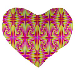 Pink and Yellow Rave Pattern Large 19  Premium Flano Heart Shape Cushion