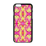 Pink and Yellow Rave Pattern Apple iPhone 6 Black Enamel Case Front