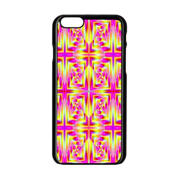 Pink and Yellow Rave Pattern Apple iPhone 6 Black Enamel Case