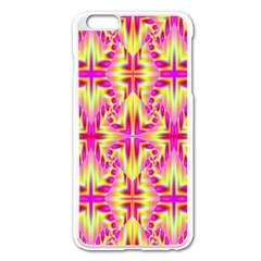 Pink And Yellow Rave Pattern Apple Iphone 6 Plus Enamel White Case
