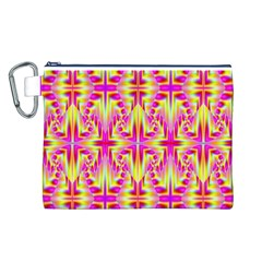 Pink and Yellow Rave Pattern Canvas Cosmetic Bag (Large)