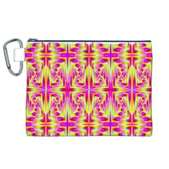 Pink and Yellow Rave Pattern Canvas Cosmetic Bag (XL)