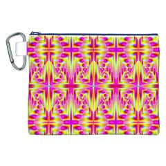 Pink and Yellow Rave Pattern Canvas Cosmetic Bag (XXL)