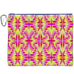 Pink and Yellow Rave Pattern Canvas Cosmetic Bag (XXXL)