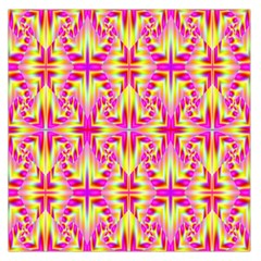 Pink and Yellow Rave Pattern Large Satin Scarf (Square)