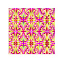 Pink And Yellow Rave Pattern Small Satin Scarf (square)