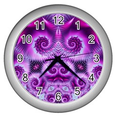 Purple Ecstasy Fractal Wall Clock (silver)