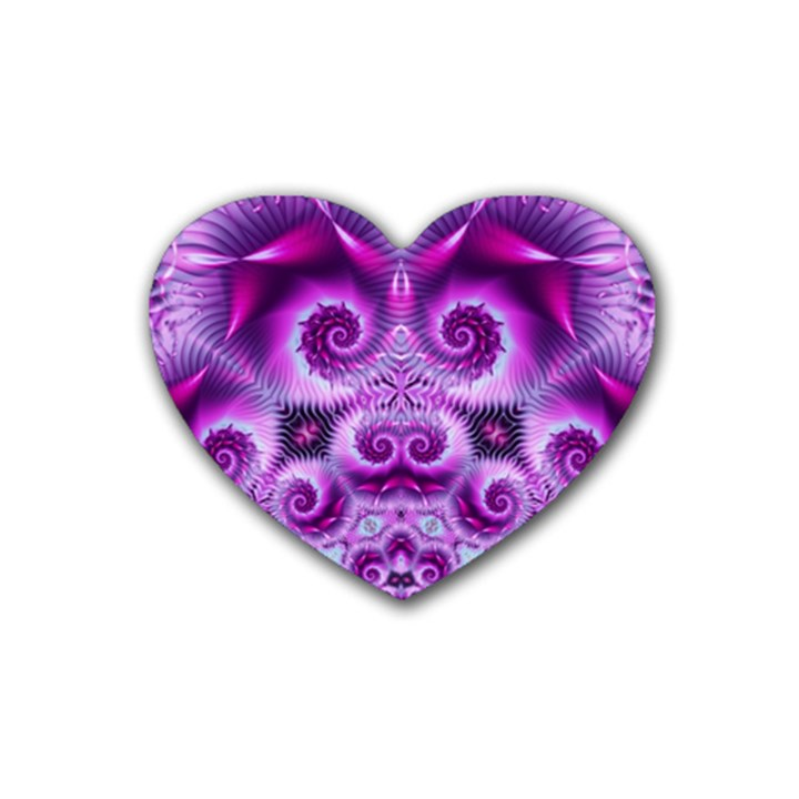 Purple Ecstasy Fractal Rubber Coaster (Heart)