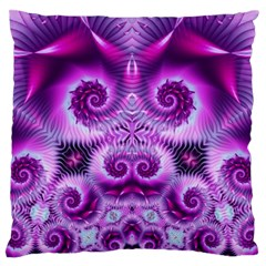 Purple Ecstasy Fractal Large Flano Cushion Case (Two Sides)