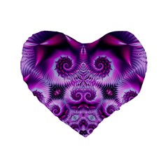 Purple Ecstasy Fractal Standard 16  Premium Flano Heart Shape Cushion
