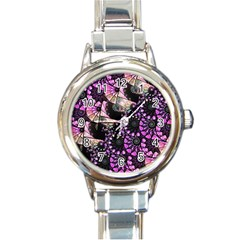 Hippy Fractal Spiral Stacks Round Italian Charm Watch