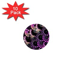 Hippy Fractal Spiral Stacks 1  Mini Button (10 Pack)