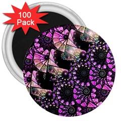 Hippy Fractal Spiral Stacks 3  Button Magnet (100 Pack)