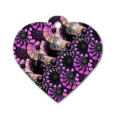 Hippy Fractal Spiral Stacks Dog Tag Heart (two Sided)