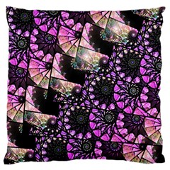 Hippy Fractal Spiral Stacks Large Flano Cushion Case (One Side)