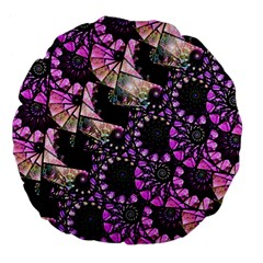 Hippy Fractal Spiral Stacks Large 18  Premium Flano Round Cushion